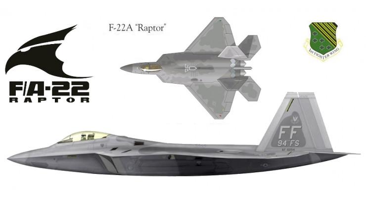 "Модель самолета Lockheed F-22A ""Raptor"" USAF 1:72"