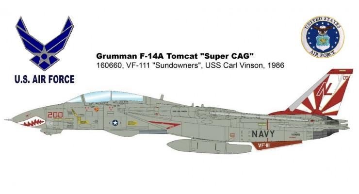 Модель самолета Grumman F-14A Tomcat US NAVY 1:72