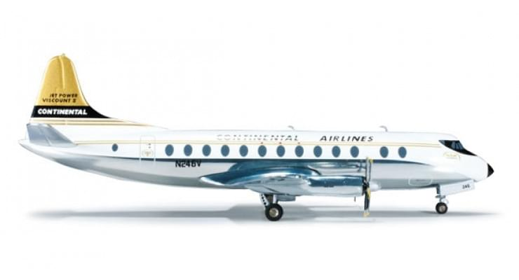 Модель самолета Vickers Viscount 800 Continental Airlines 1:200
