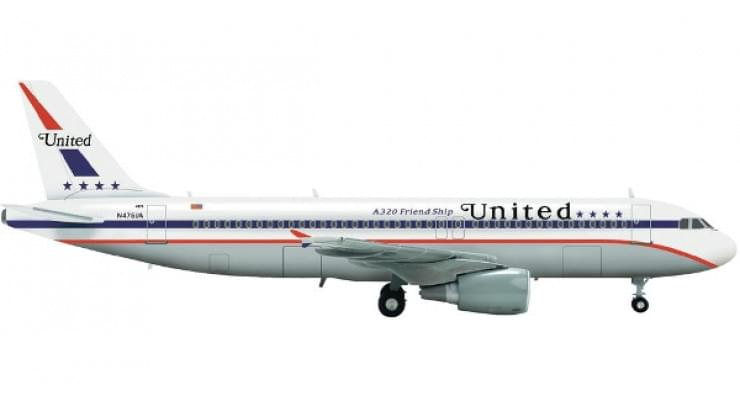 Модель самолета Airbus A320 United Airlines 1:200