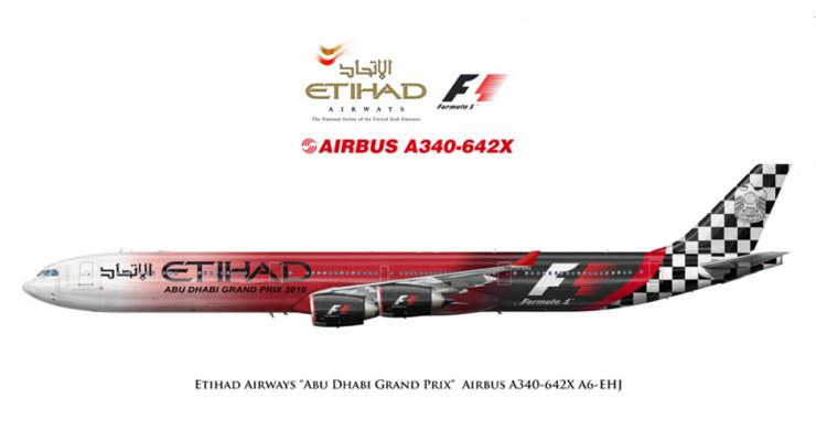 "Модель самолета Airbus A340-600 Etihad Airways ""Abu Dhabi Grand Prix"" 1:250"