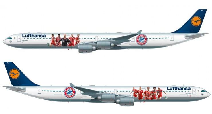 "Модель самолета Airbus A340-600 Lufthansa ""FC Bayern Munchen"" 1:250"