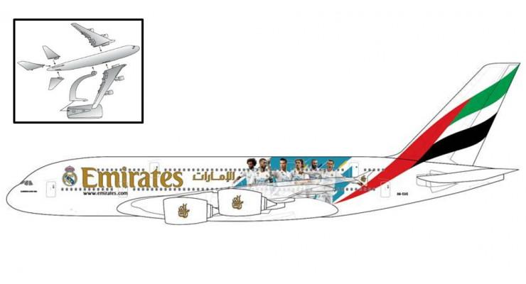 "Модель самолета Airbus A380 Emirates ""Real Madrid"" 1:250"