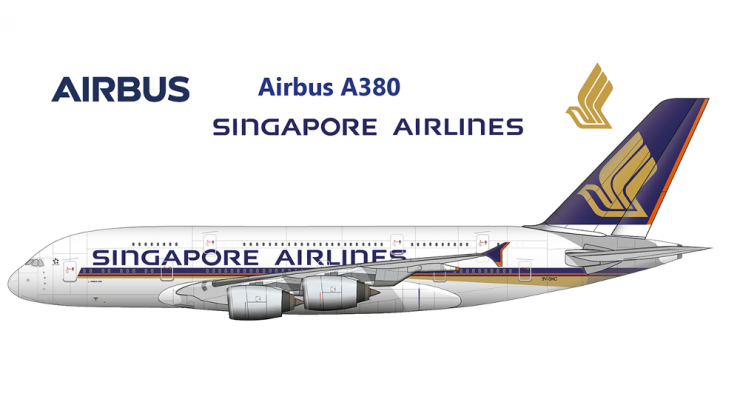 Модель самолета Airbus A380-800 Singapore Airlines 1:400