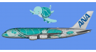 "Модель самолета Airbus A380-800 ""Flying Honu - Kai"" All Nippon Airways 1:200"