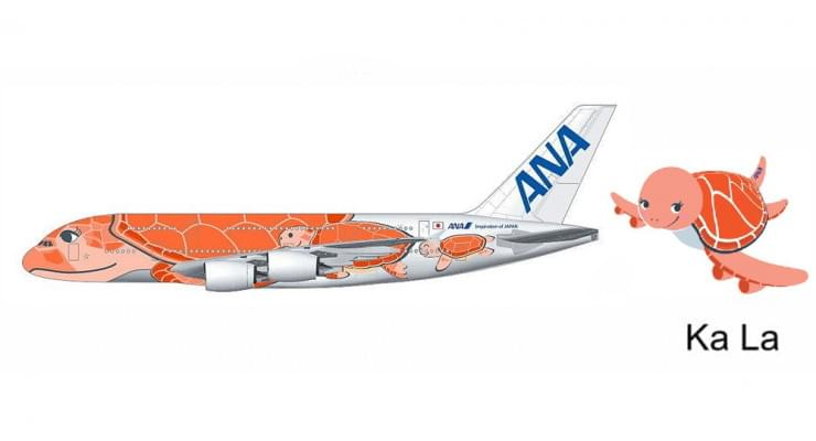 "Модель самолета Airbus A380-800 ""Flying Honu - Ka La"" All Nippon Airways 1:400"