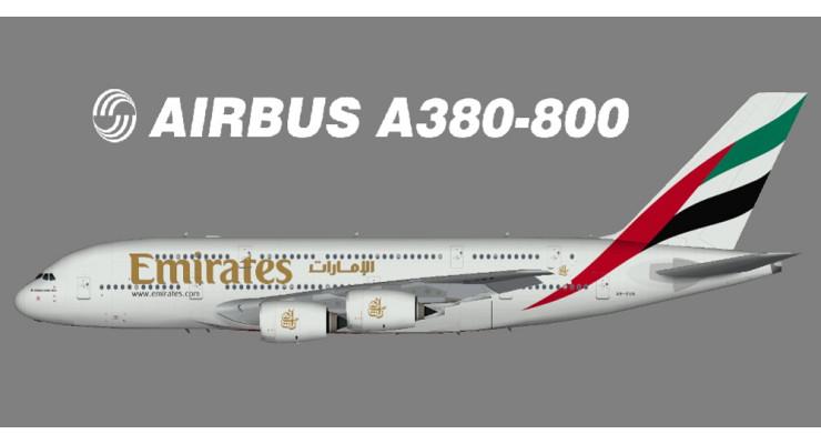 Модель самолета Airbus A380-800 Emirates 1:200