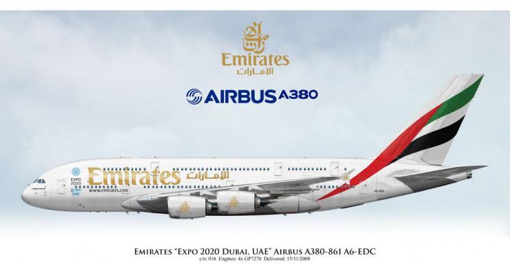 """Модель самолета Airbus A380-800 Emirates """"Expo 2020"""" 1:200"""