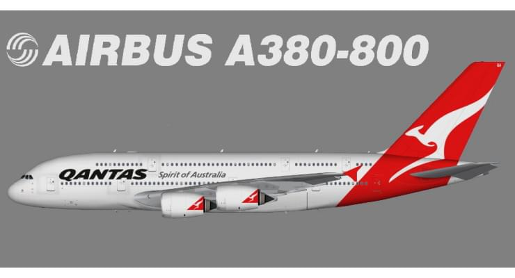 Модель самолета Airbus A380-800 Qantas Airways 1:400