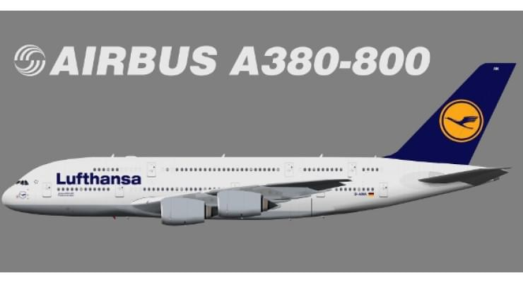 Модель самолета Airbus A380-800 Lufthansa 1:400