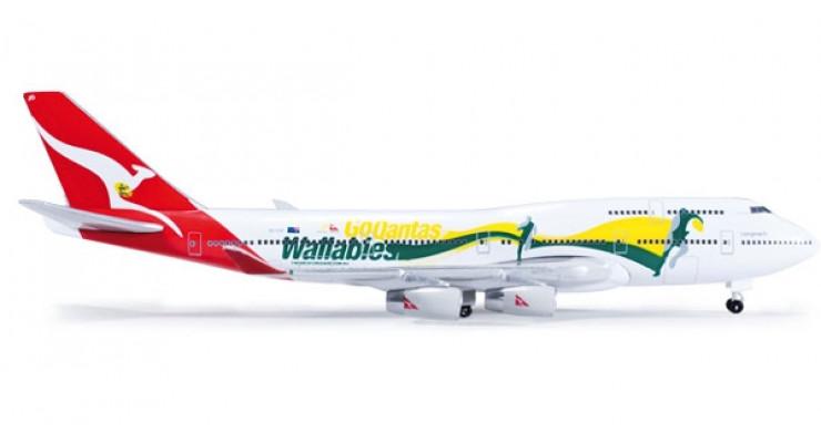 """Модель самолета Boeing 747-400 Qantas Airways """"Go Wallabies"""" 1:500 520959"""
