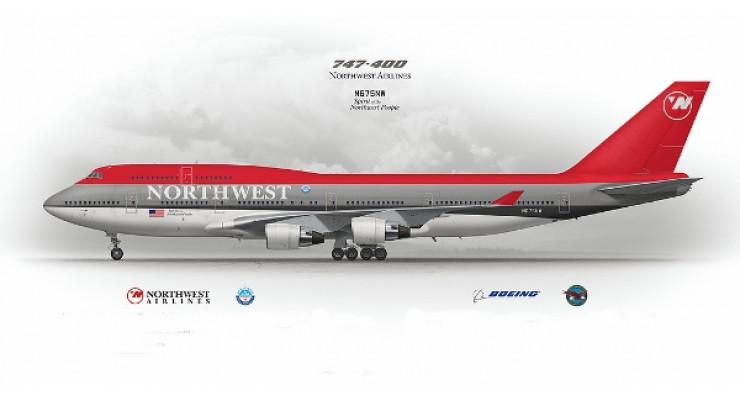 Модель самолета Boeing 747-400 Northwest Airlines 1:200