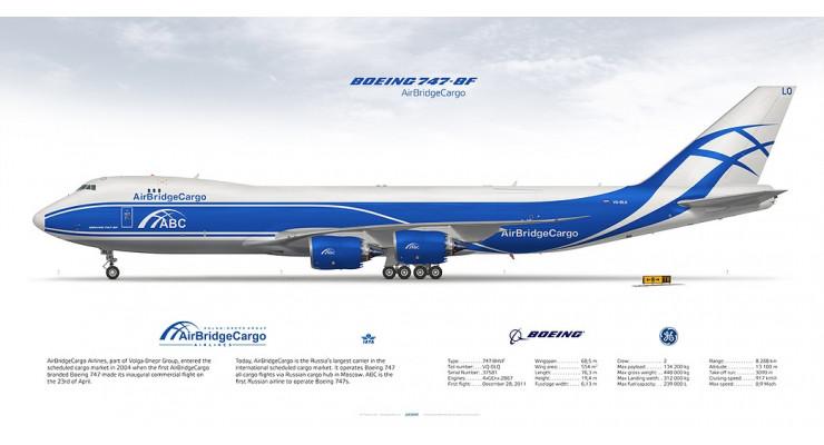 Модель самолета Boeing 747-8F Air Bridge Cargo 1:200