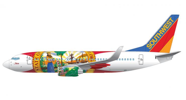 "Модель самолета Boeing 737-700 ""Florida One"" Southwest Airlines (механизация крыла выпущена) 1:200"